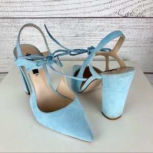 Zara Baby Blue Slingback Suede Black Heels